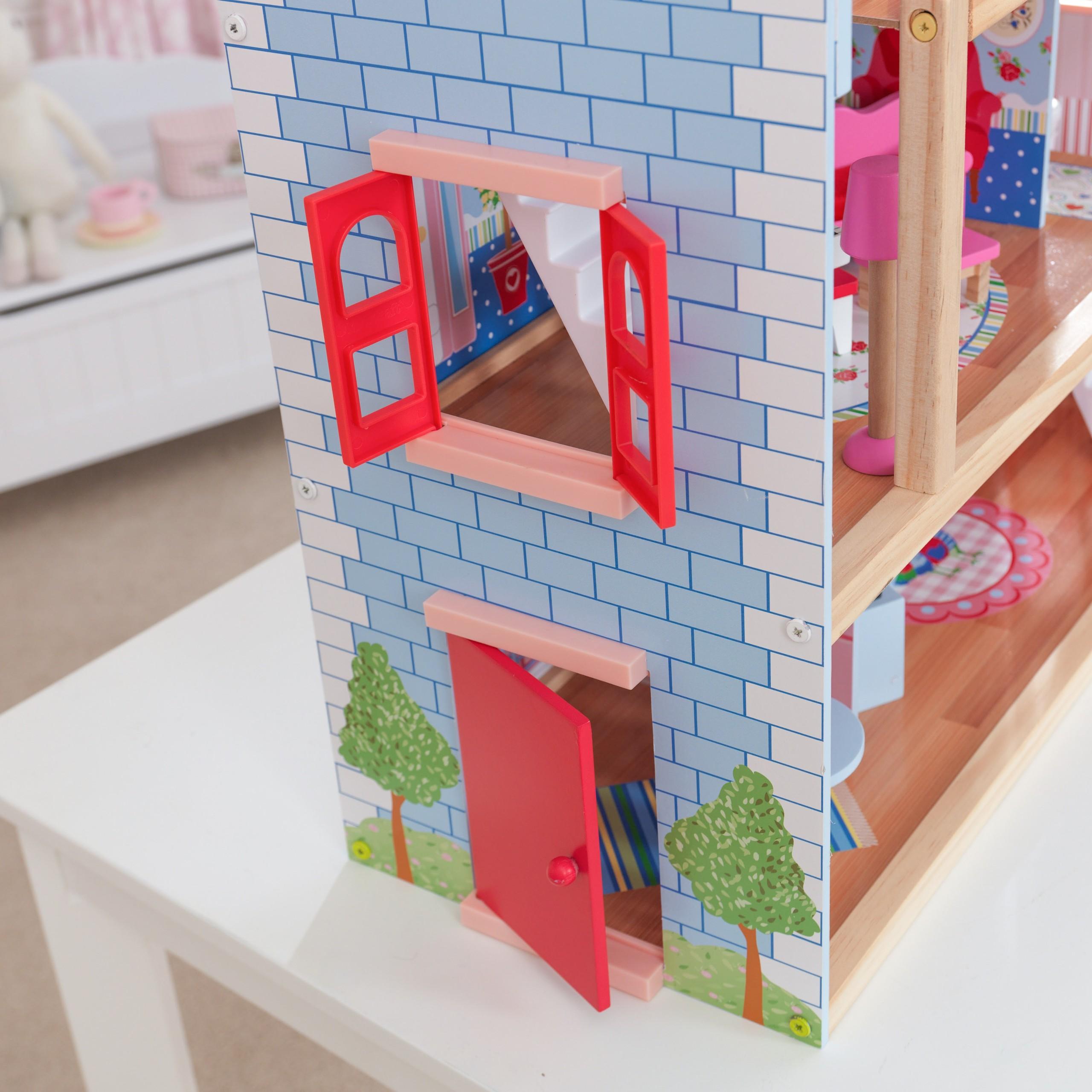 Детска дървена къща за кукли - Челси от Kidkraft(8)-bellamie