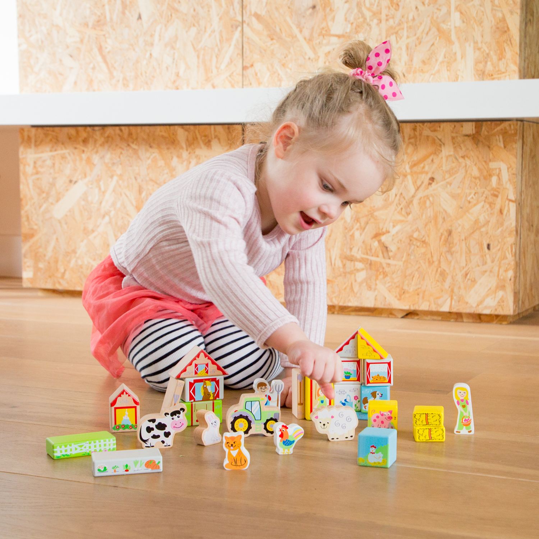 Дървен конструктор от 30 части - Фермата - дървена бебешка играчка(1)-bellamie