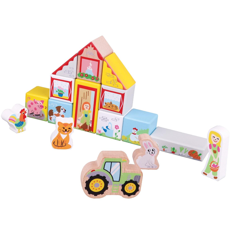 Дървен конструктор от 30 части - Фермата - дървена бебешка играчка(3)-bellamie