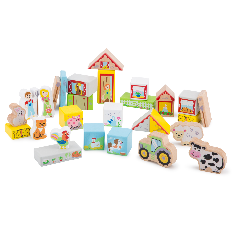 Дървен конструктор от 30 части - Фермата - дървена бебешка играчка-bellamie