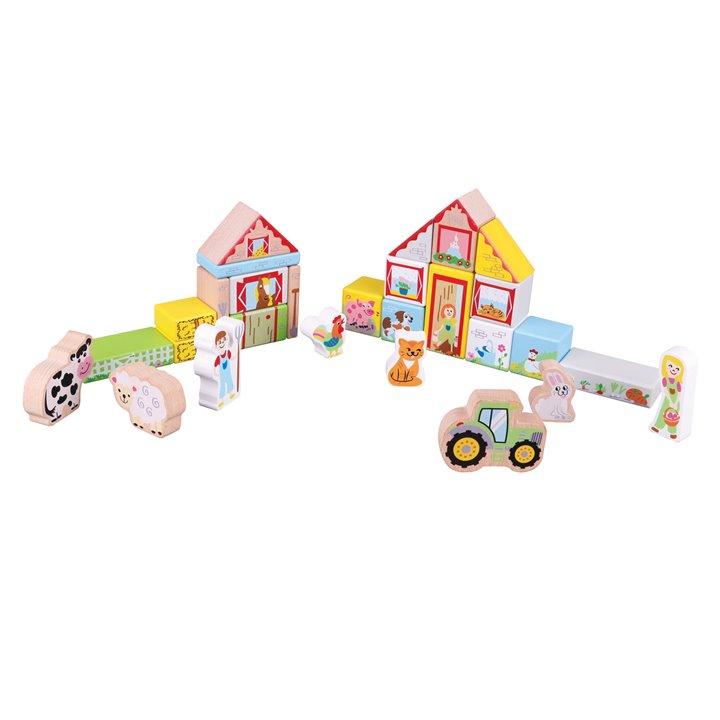 Дървен конструктор от 30 части - Фермата - дървена бебешка играчка(4)-bellamie