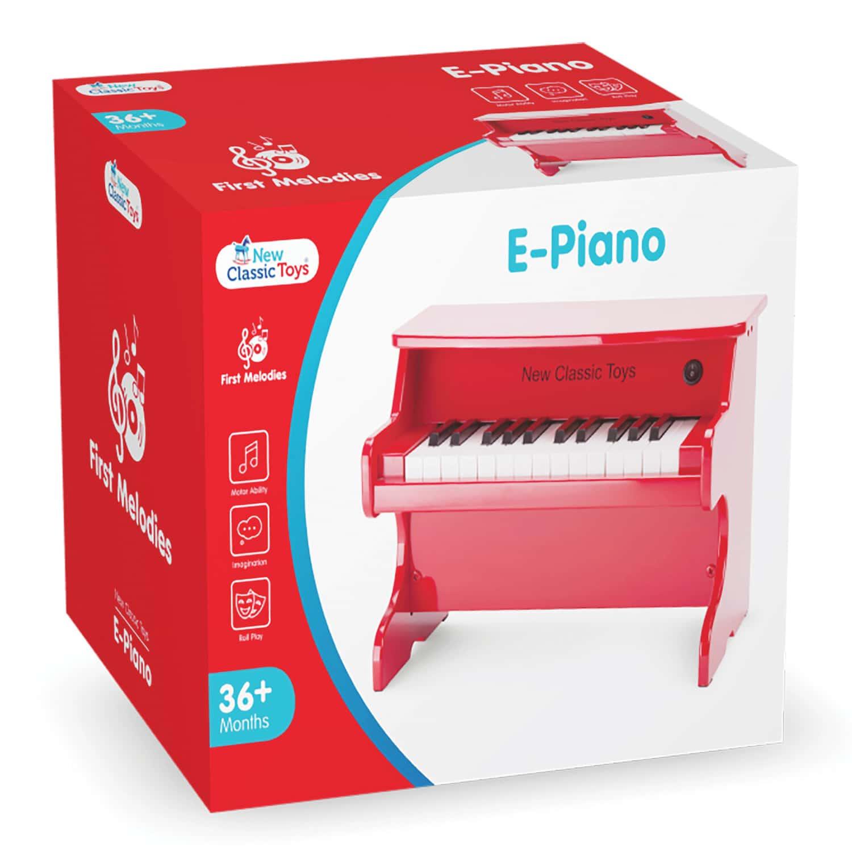 червено дървено пиано-Детски музикален инструмент от New classic toys(1)-bellamiestore