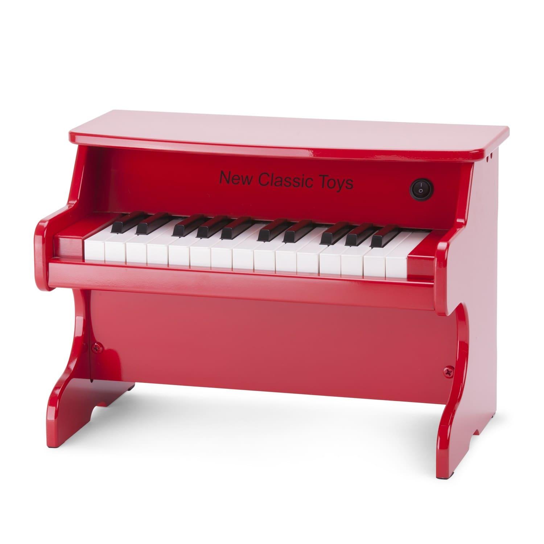 червено дървено пиано-Детски музикален инструмент от New classic toys(3)-bellamiestore