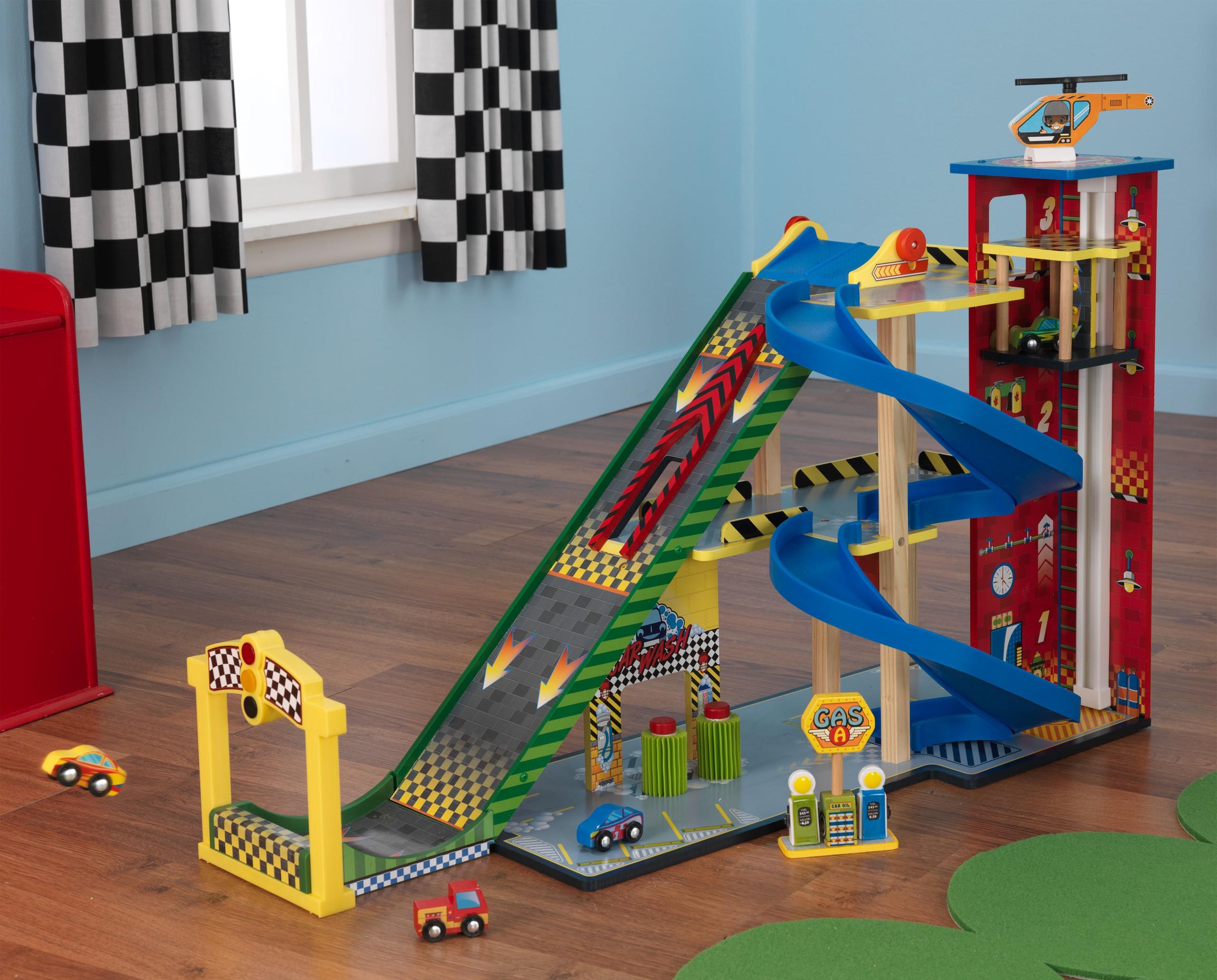Детски дървен паркинг и голяма състезателна писта от KidKraft - детски играчки за момчета(17)-bellamiestore