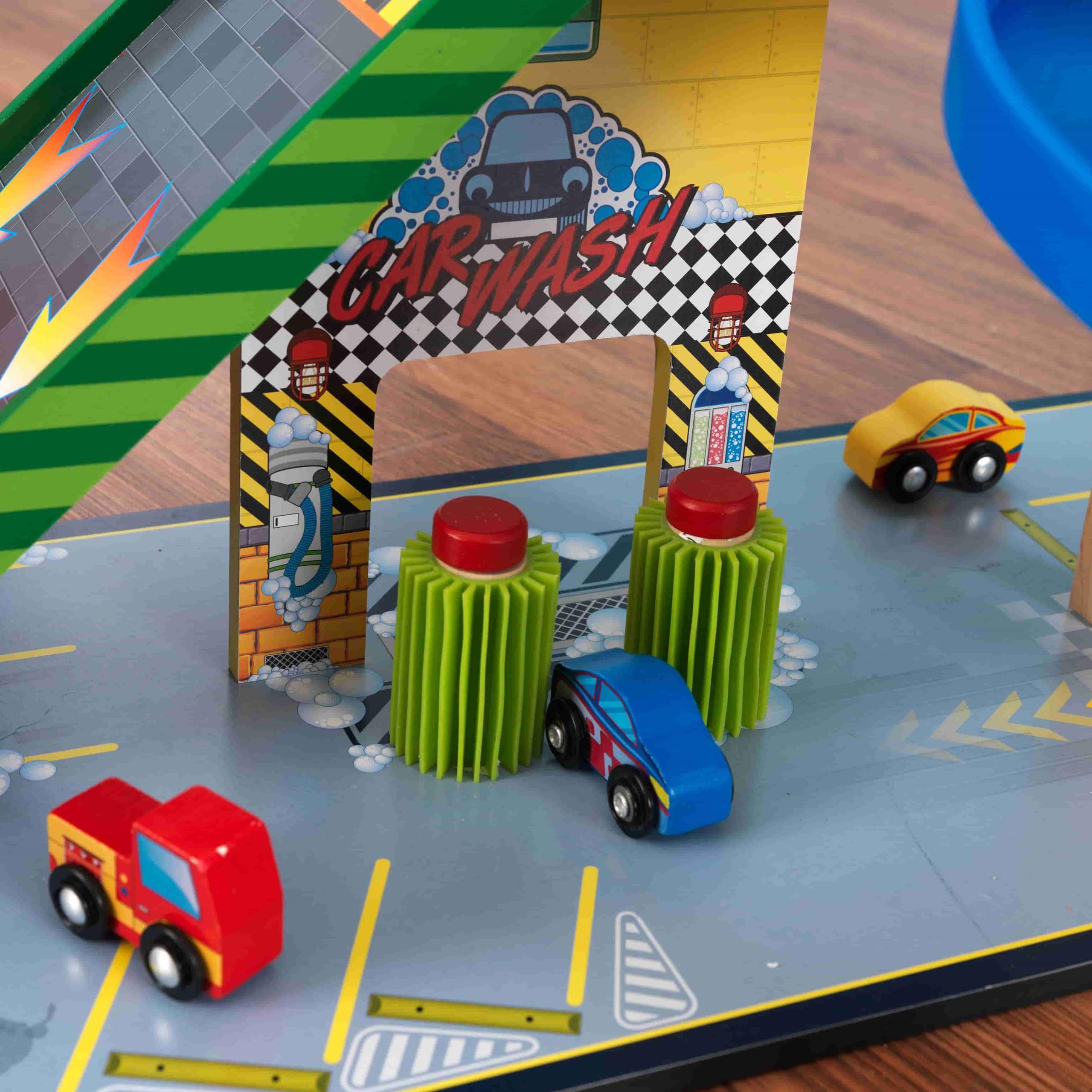 Детски дървен паркинг и голяма състезателна писта от KidKraft - детски играчки за момчета(6)-bellamiestore