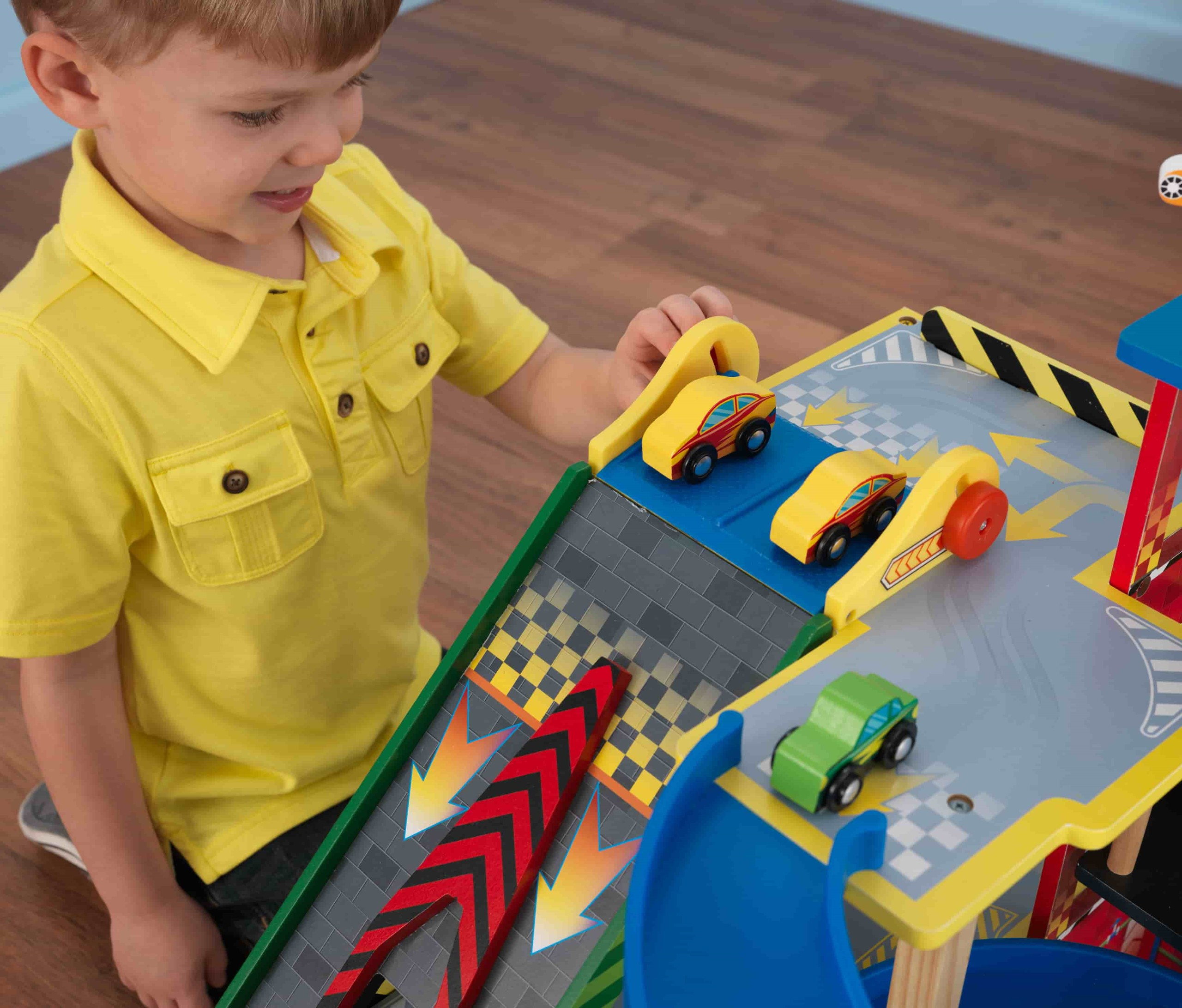 Детски дървен паркинг и голяма състезателна писта от KidKraft - детски играчки за момчета(13)-bellamiestore