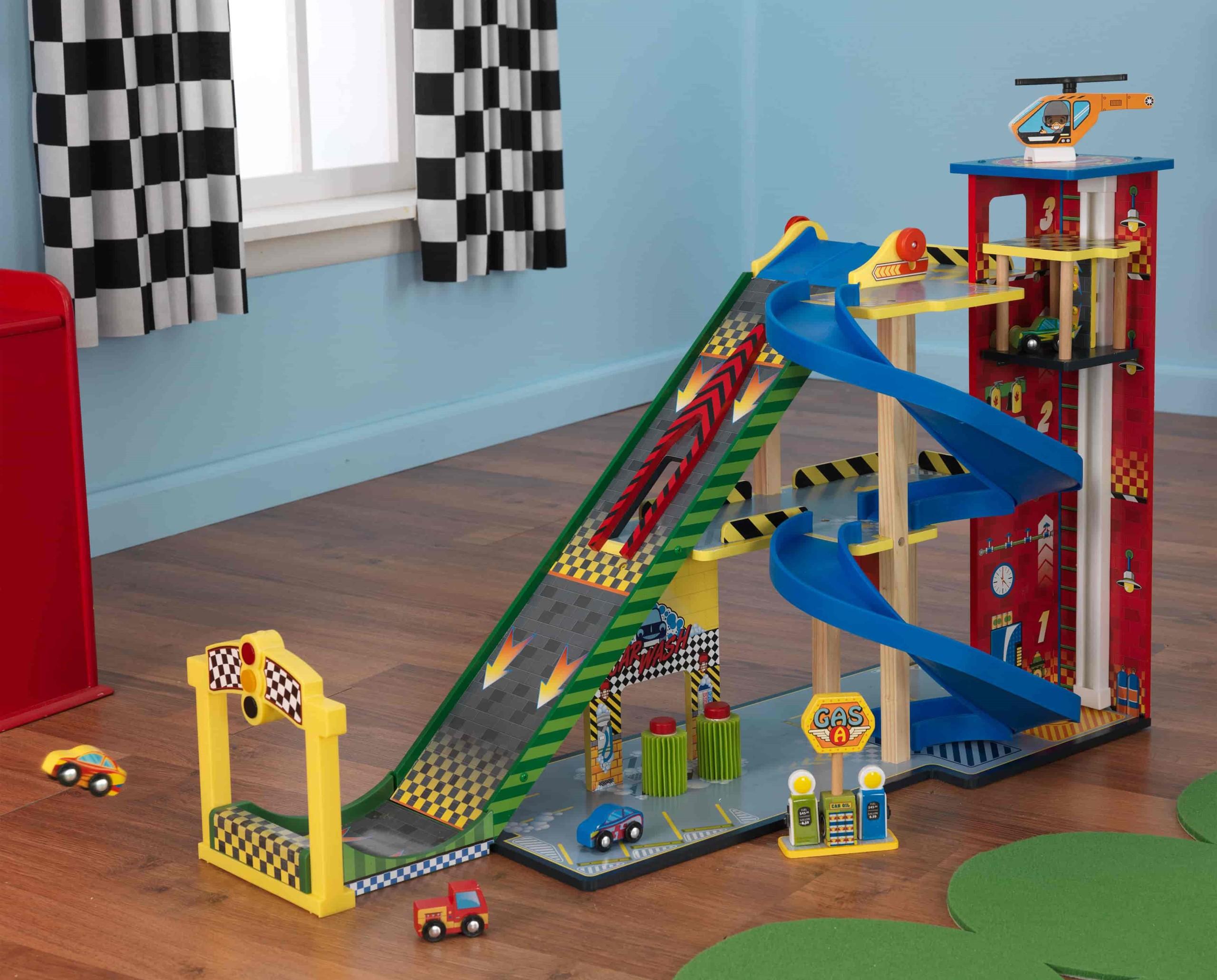 Детски дървен паркинг и голяма състезателна писта от KidKraft - детски играчки за момчета(16)-bellamiestore