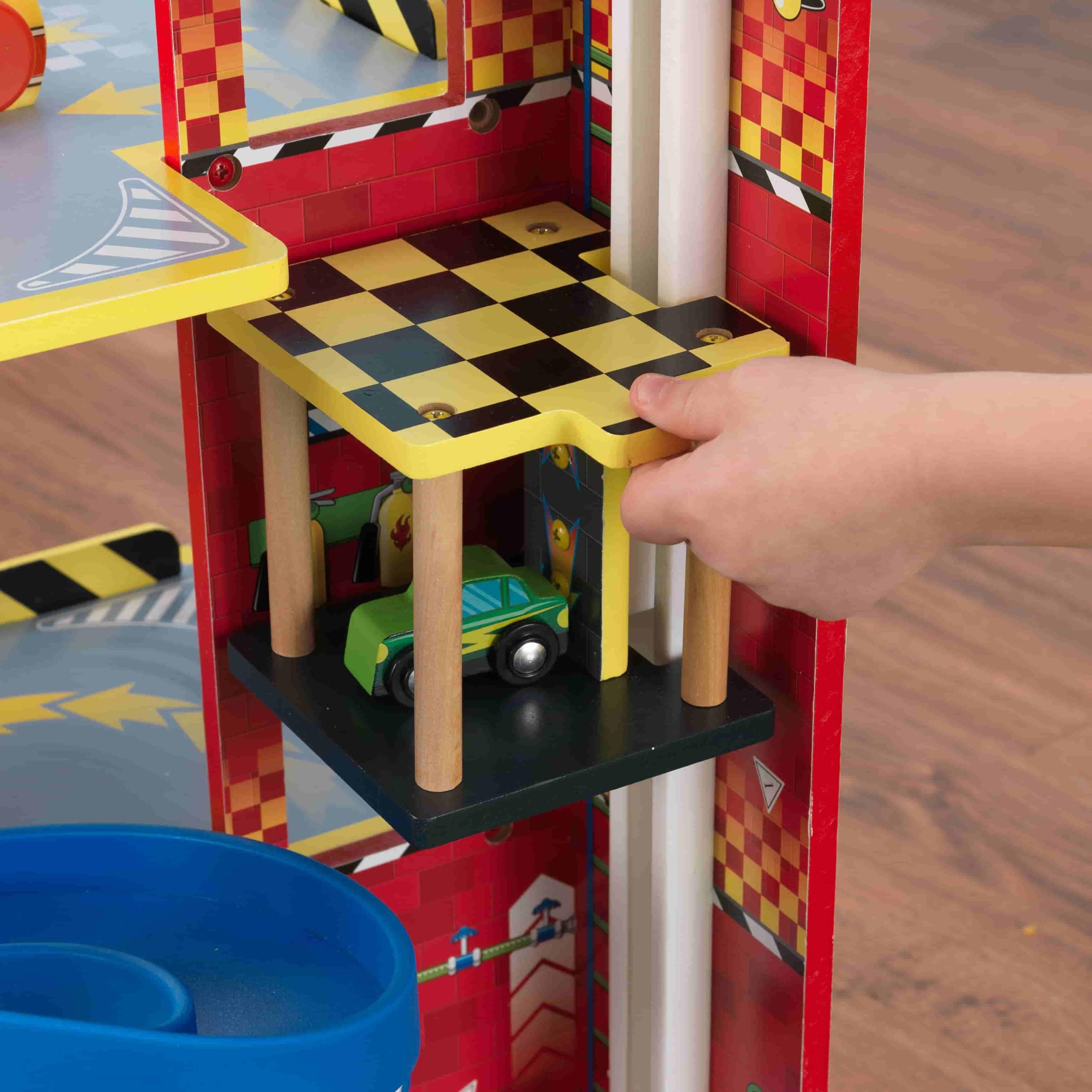 Детски дървен паркинг и голяма състезателна писта от KidKraft - детски играчки за момчета(4)-bellamiestore