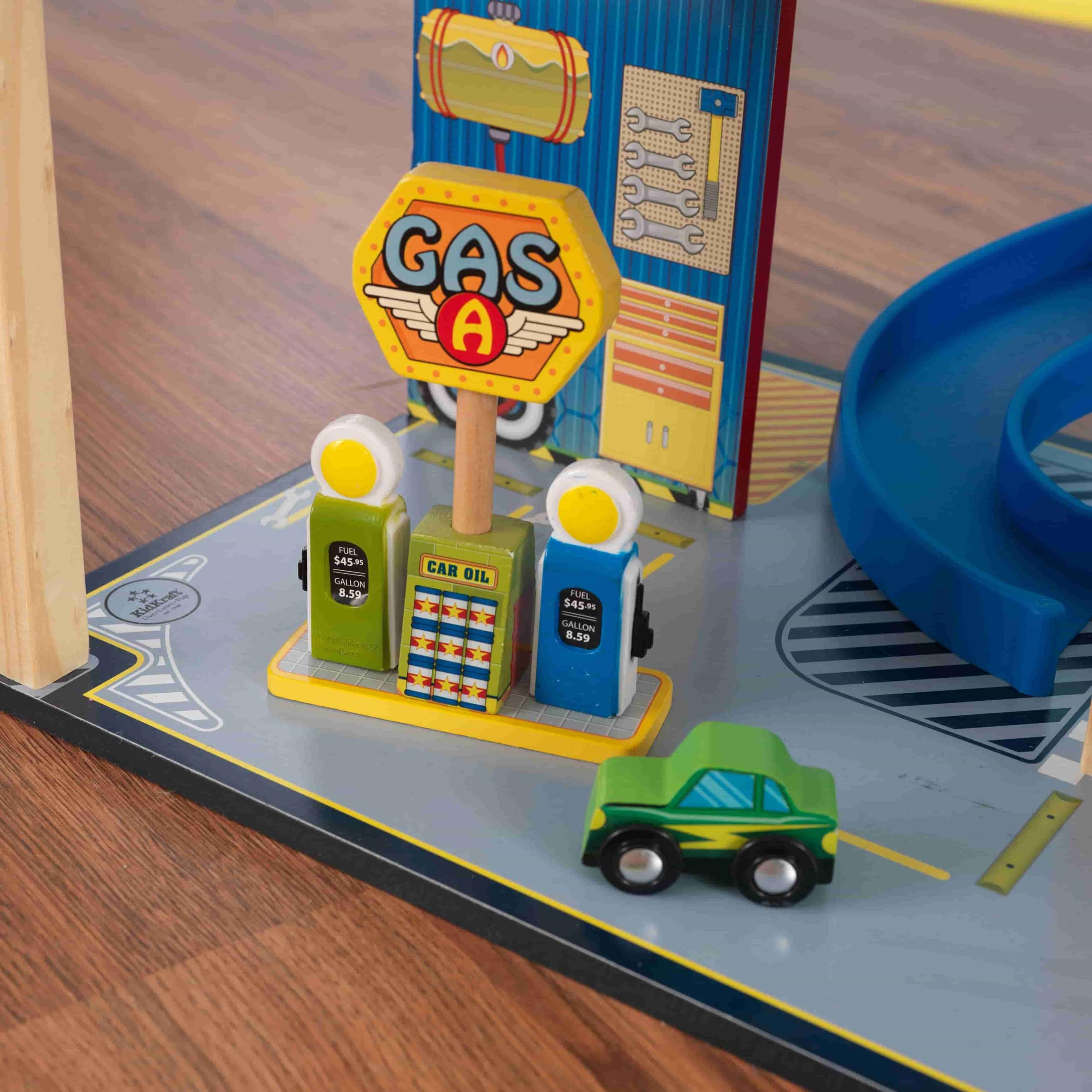 Детски дървен паркинг и голяма състезателна писта от KidKraft - детски играчки за момчета(10)-bellamiestore