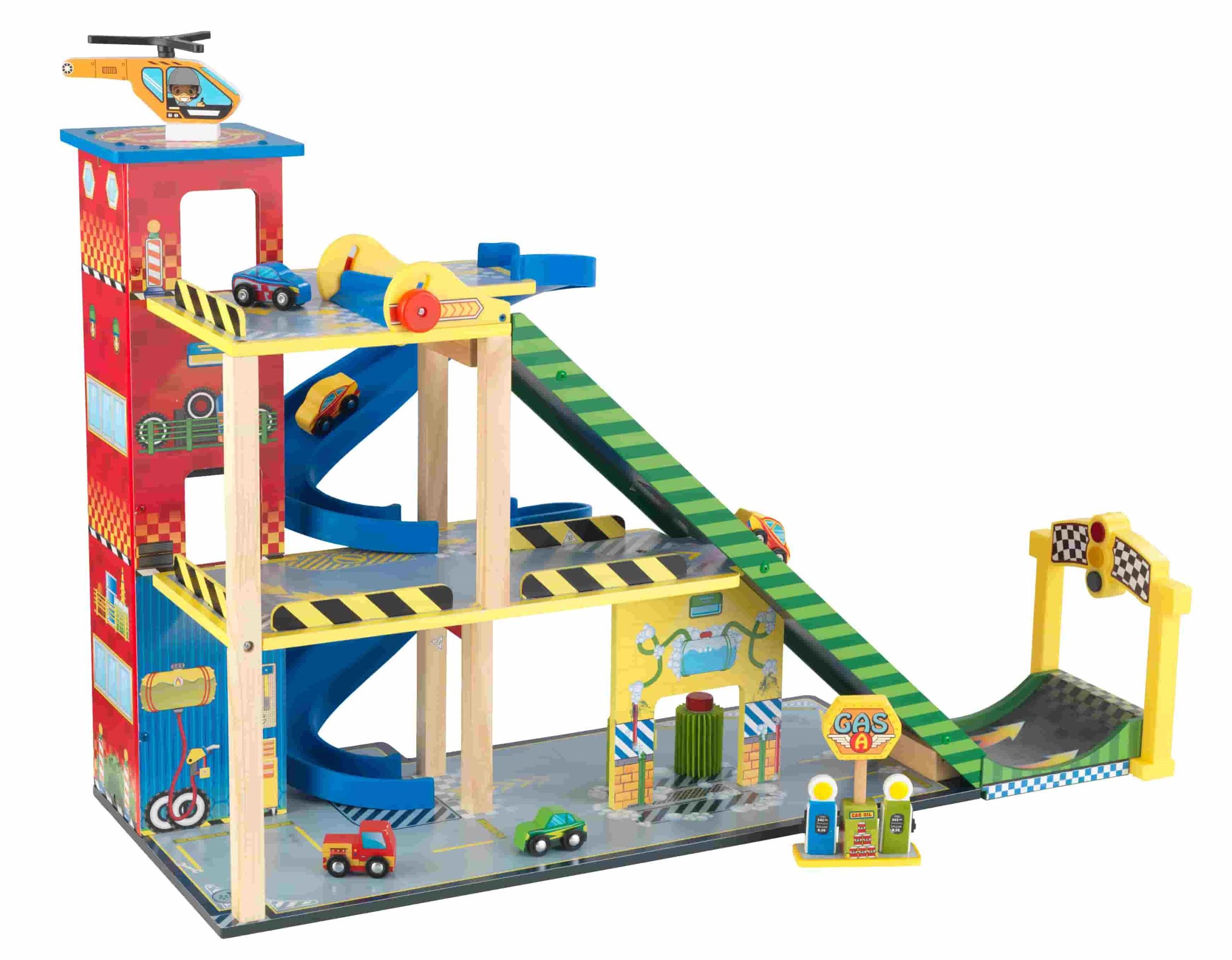 Детски дървен паркинг и голяма състезателна писта от KidKraft - детски играчки за момчета(3)-bellamiestore
