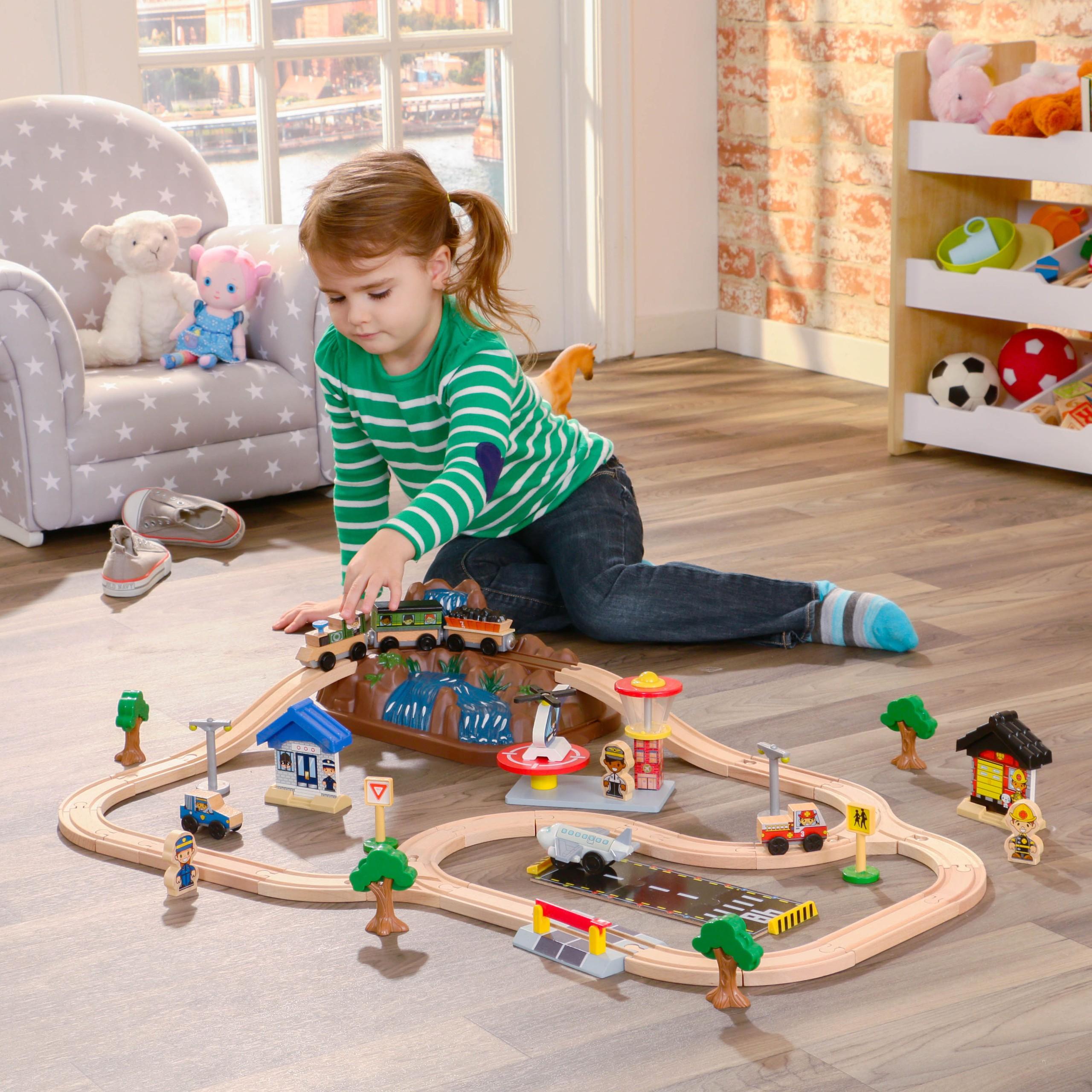 Детски дървен влак - На върха на планината от KidKraft-детски играчки за момчета и момичета(1)-bellamie