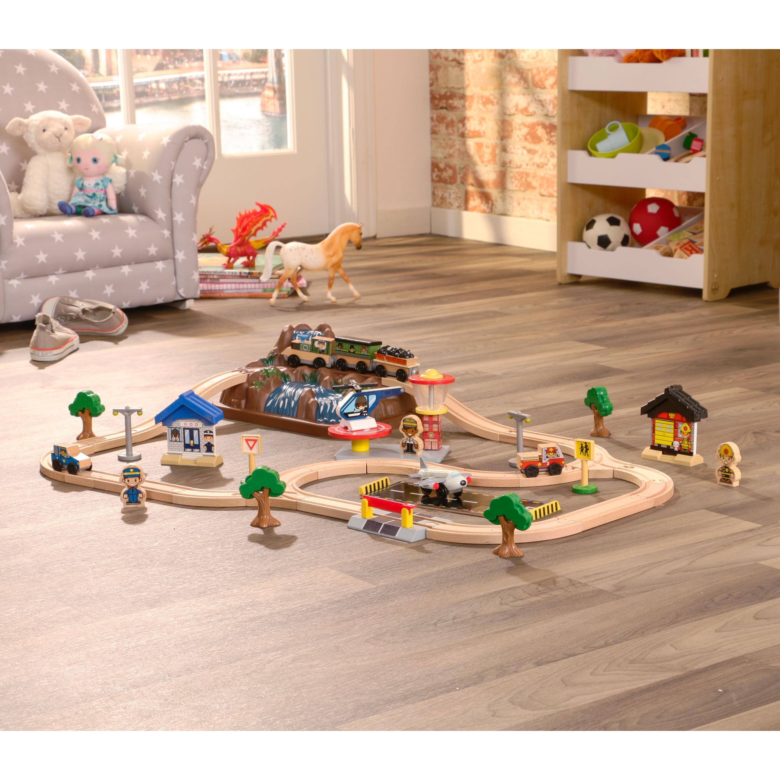 Детски дървен влак - На върха на планината от KidKraft-детски играчки за момчета и момичета(5)-bellamie