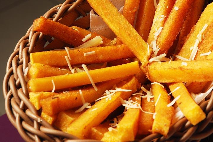 Полента от пилешко и тиква във формата на пържени картофи -bellamie