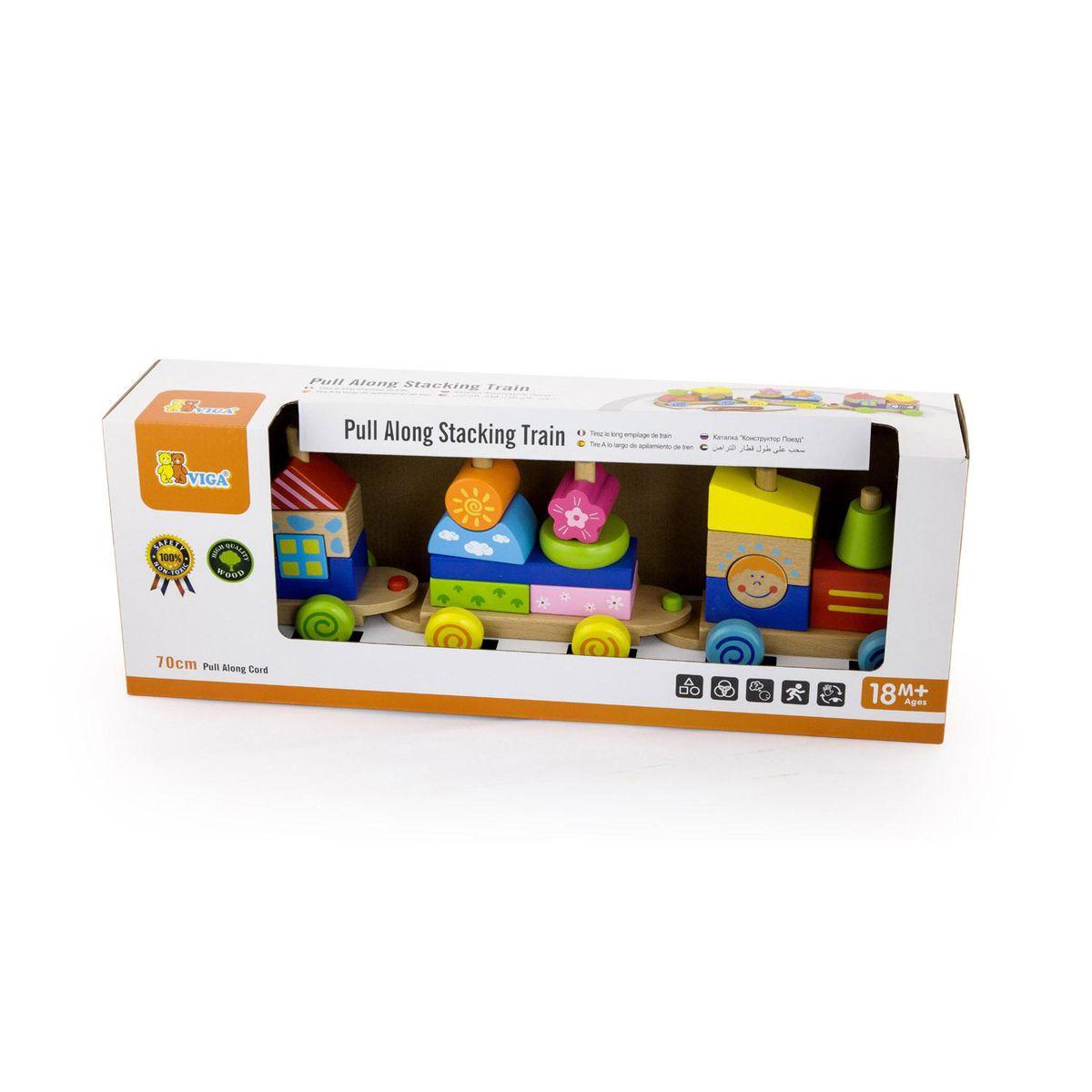 Кутия на Детски дървен влак за дърпане и конструктор от Viga toys-bellamiestore