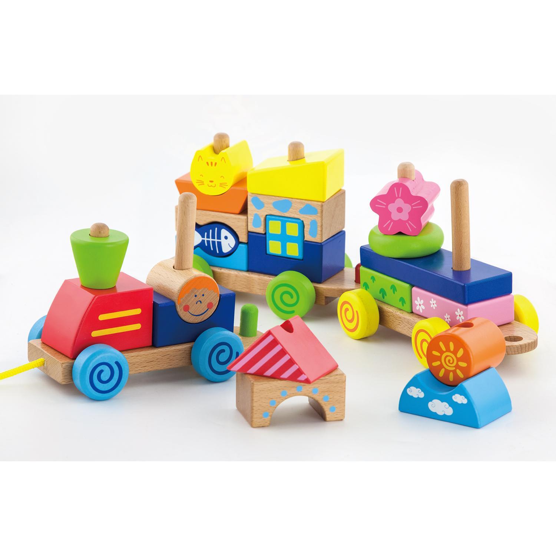 Детски дървен влак за дърпане и конструктор от Viga toys-bellamie