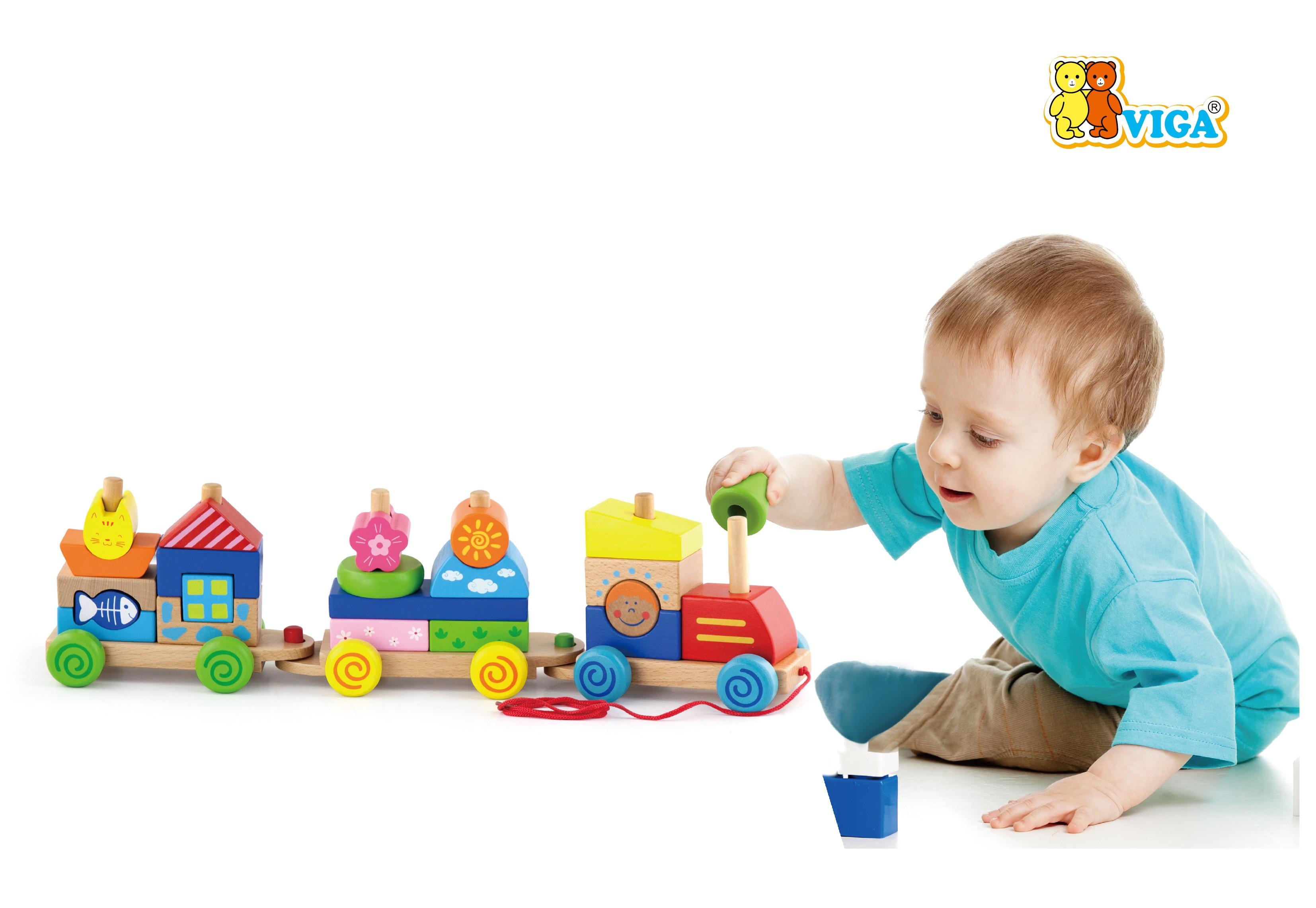 Детски дървен влак за дърпане и конструктор от Viga toys-bellamiestore