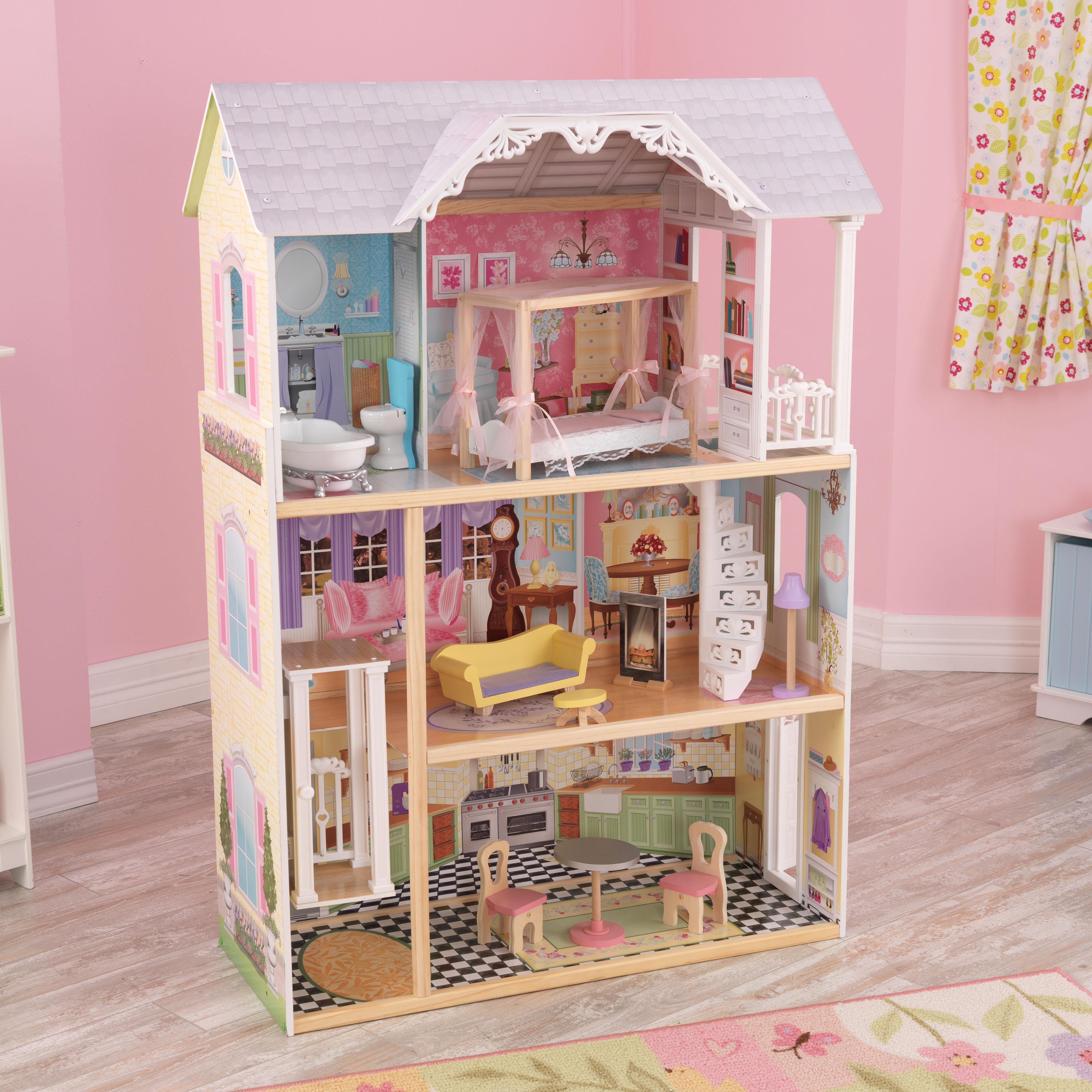 Дървена куклена къща Кайли от KidKraft - детска играчка за момичета - Магазин Bellamie