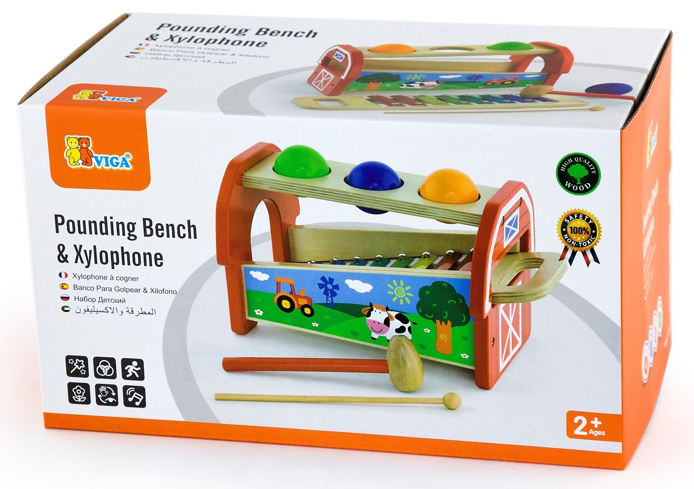 Детски ксилофон с чукче и топки от Viga toys - бебешка играчка - детски музикални инструменти(2)-bellamie