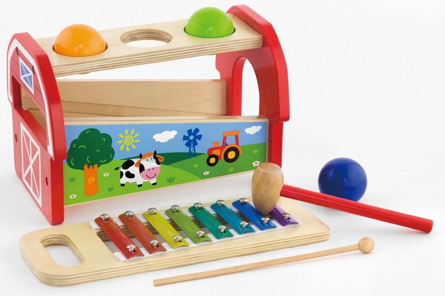 Детски ксилофон с чукче и топки от Viga toys - бебешка играчка - детски музикални инструменти(1)-bellamie