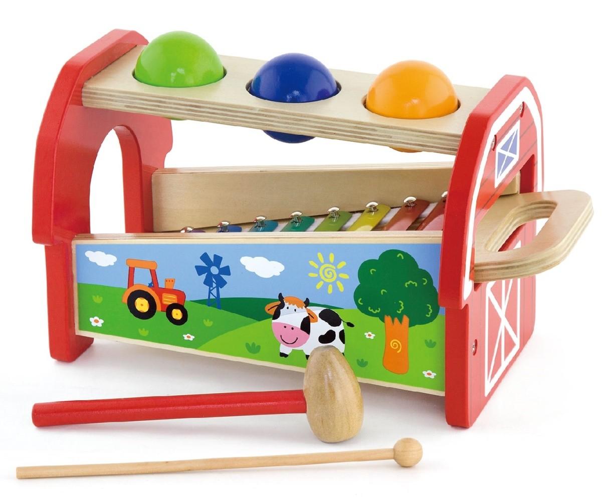 Детски ксилофон с чукче и топки от Viga toys - бебешка играчка - детски музикални инструменти - Bellamie