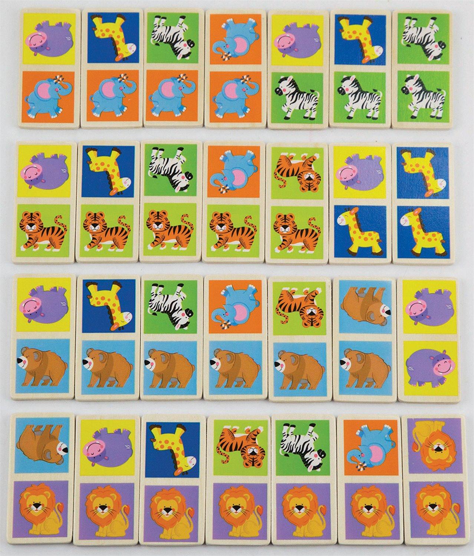 дървено домино с животните от Джунглата- дървени образователни играчки от Viga toys-bellamiestore