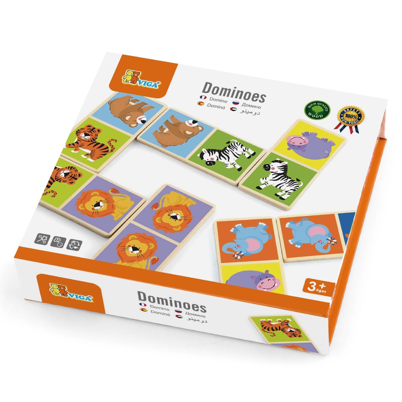 дървено домино с животните от Джунглата- дървени образователни играчки от Viga toys(1)-bellamiestore