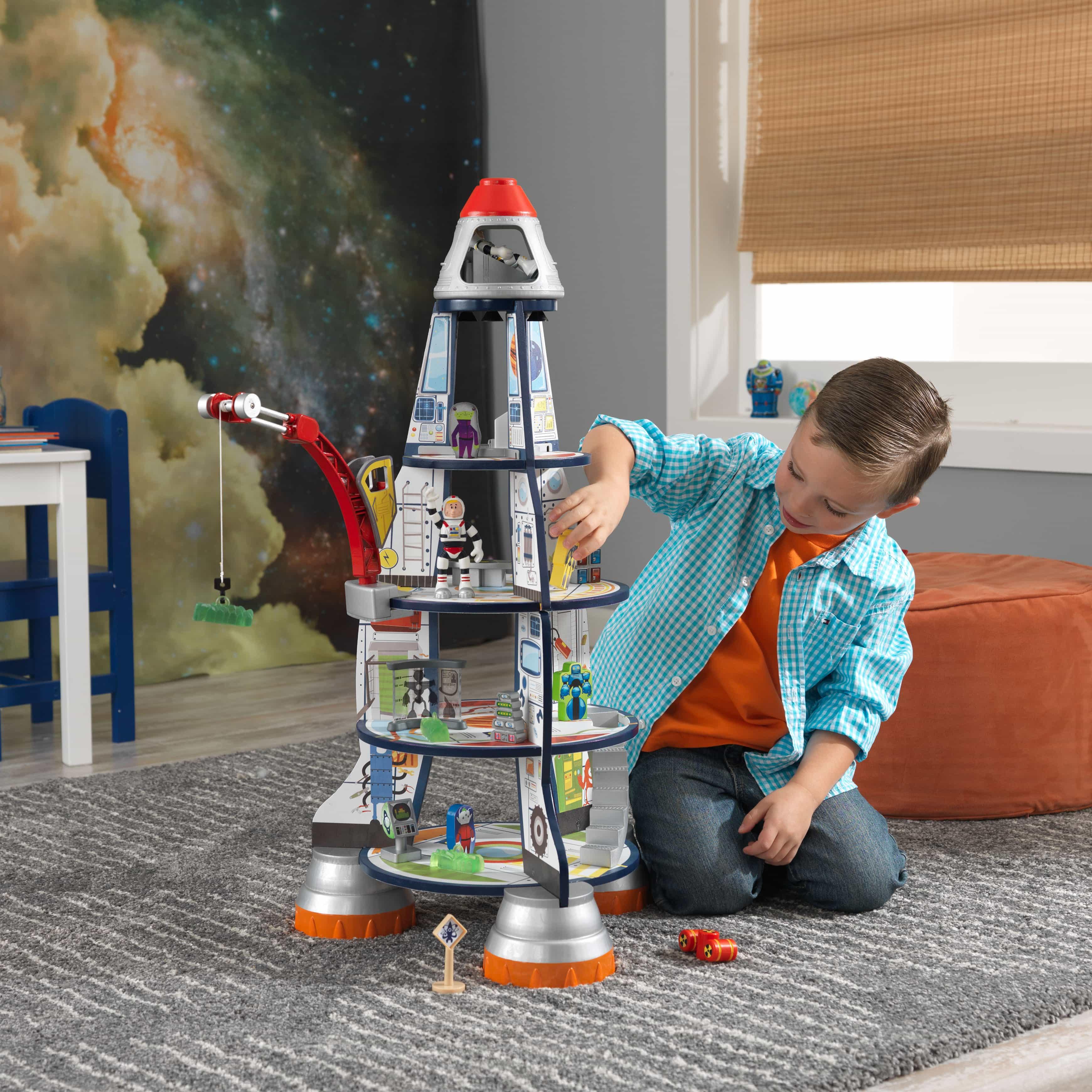KidKraft - дървена играчка за момчета - Космическа ракета(4)-bellamie
