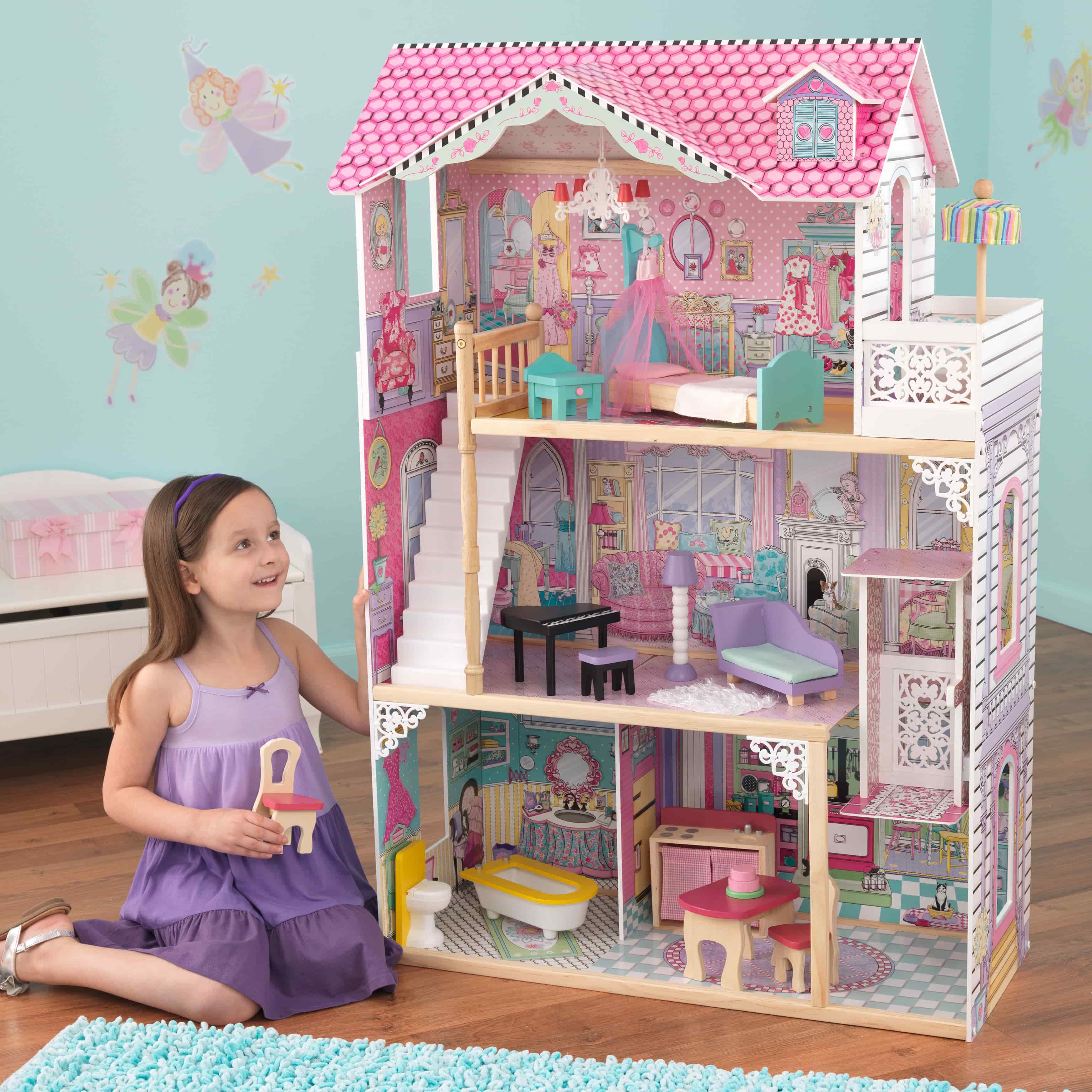 Детска дървена къща за кукли с обзавеждане Анна от Kidkaft