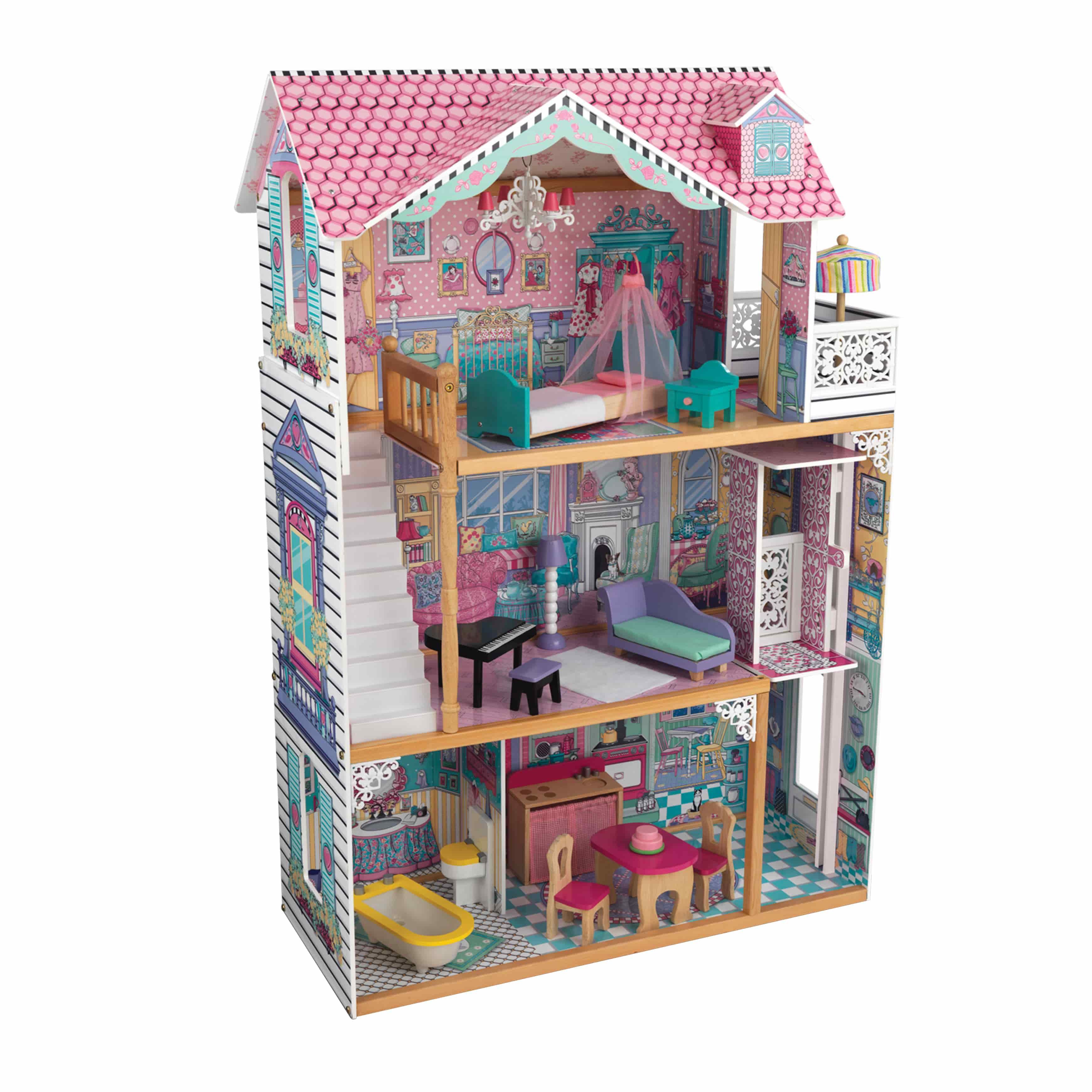 Детска дървена къща за кукли с обзавеждане Анна от Kidkaft -Магазин Bellamie