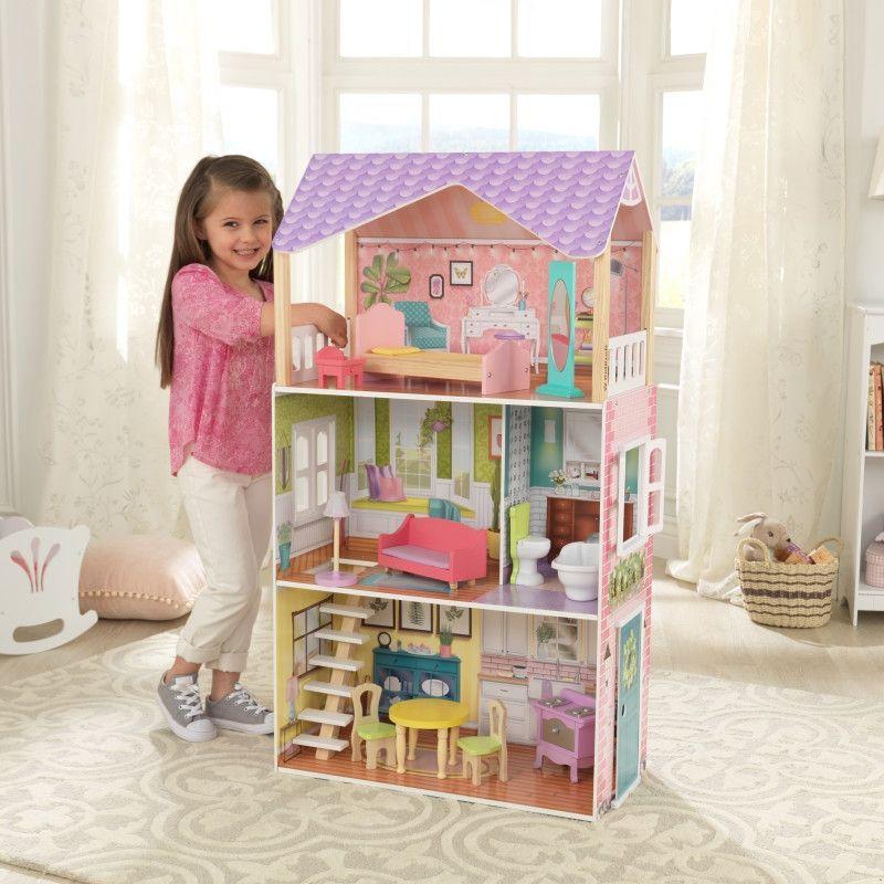 Красива дървена къща за кукли - Попи на Kidkraft- дървени ролеви играчки-bellamiestore
