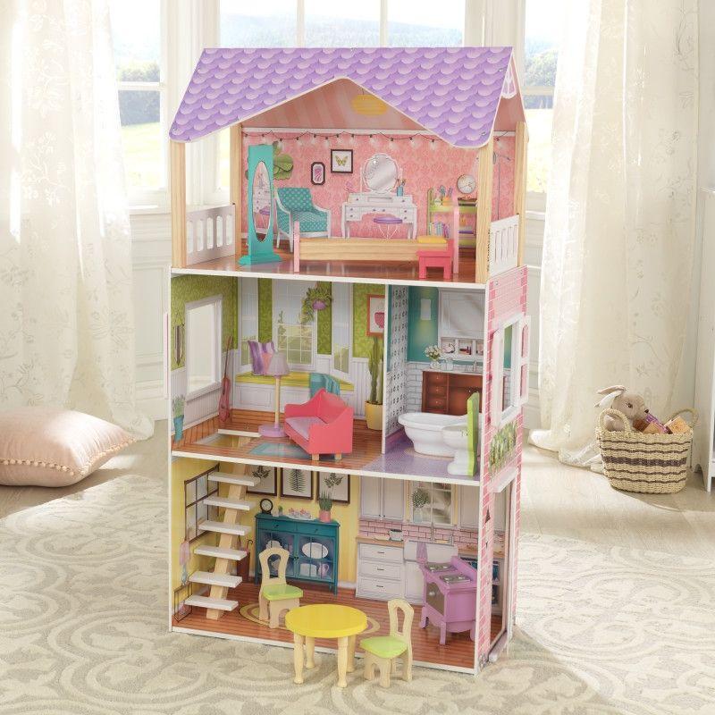 Красива дървена къща за кукли - Попи на Kidkraft- дървени ролеви играчки(1)-bellamiestore
