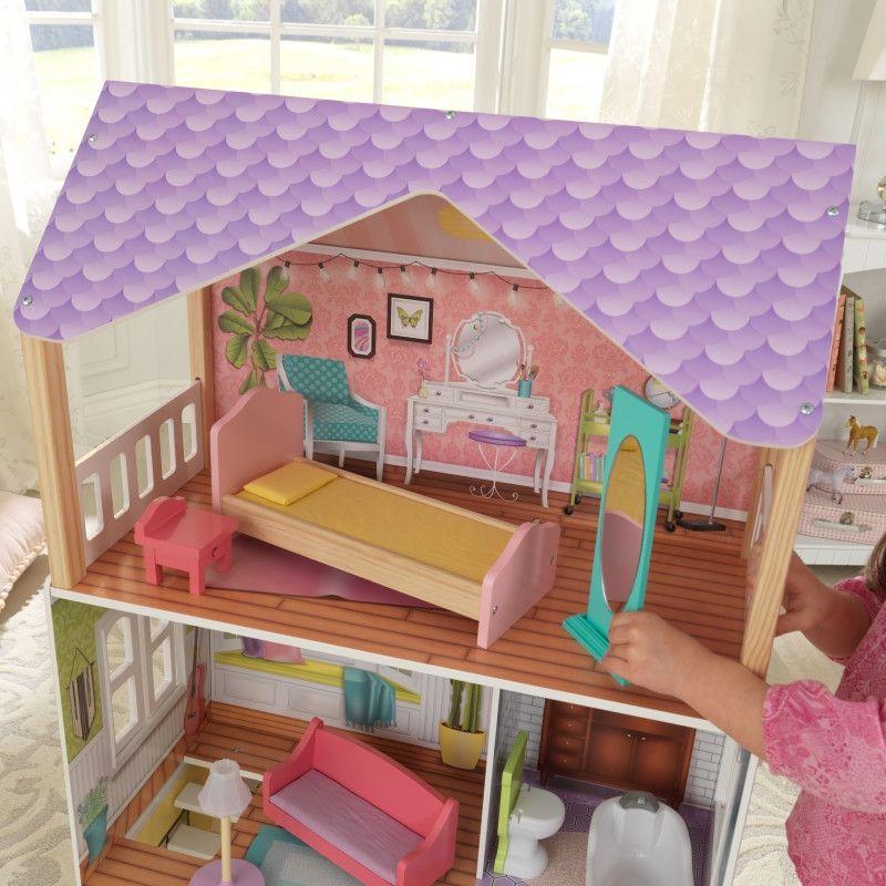 Красива дървена къща за кукли - Попи на Kidkraft- дървени ролеви играчки(3)-bellamiestore