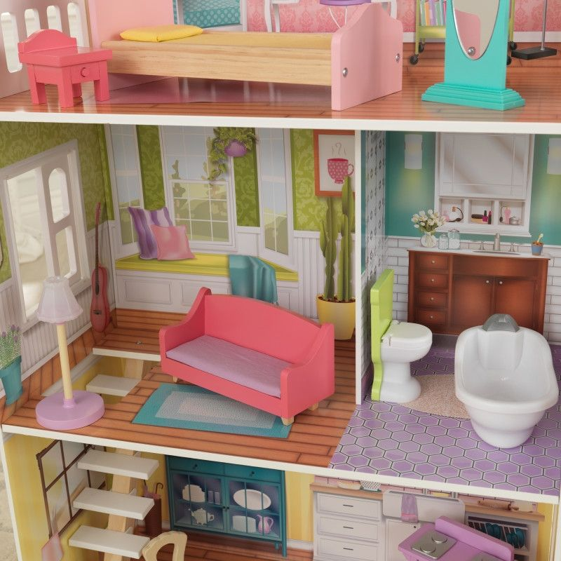 Красива дървена къща за кукли - Попи на Kidkraft- дървени ролеви играчки(4)-bellamiestore