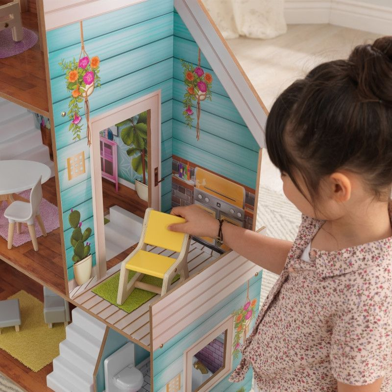 KidKraft дървена къща за кукли Жулиет-детски дървени играчки за момичета(5)-bellamiestore