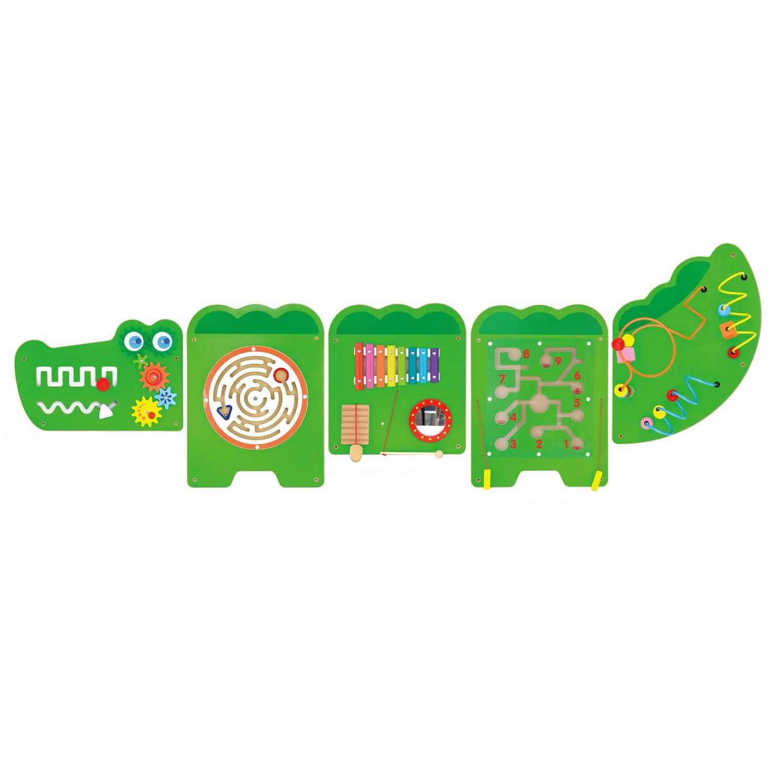 Дървена играчка за стена голяма - Крокодил-подходяща за детски градини и ясли от Viga toys-bellamiestore