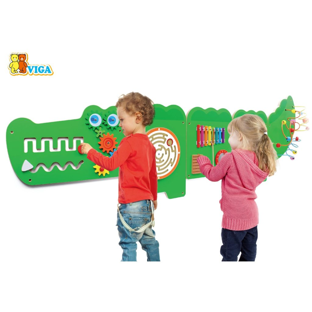 Дървена играчка за стена голяма - Крокодил-подходяща за детски градини и ясли от Viga toys(1)-bellamiestore