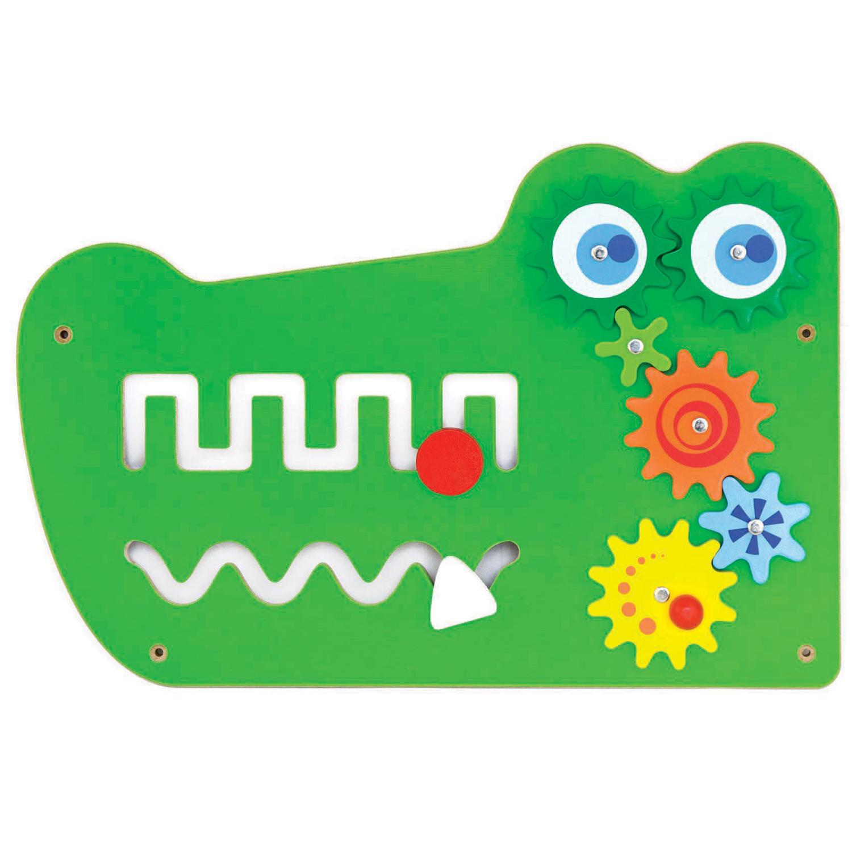 Дървена играчка за стена голяма - Крокодил-подходяща за детски градини и ясли от Viga toys(2)-bellamiestore