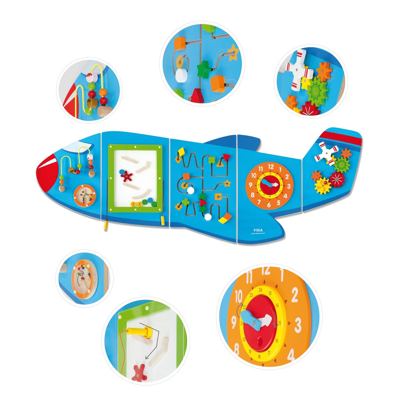 Дървена играчка за стена - Самолет от Viga toys- подходяща за детски градини и ясли(5)-bellamiestore