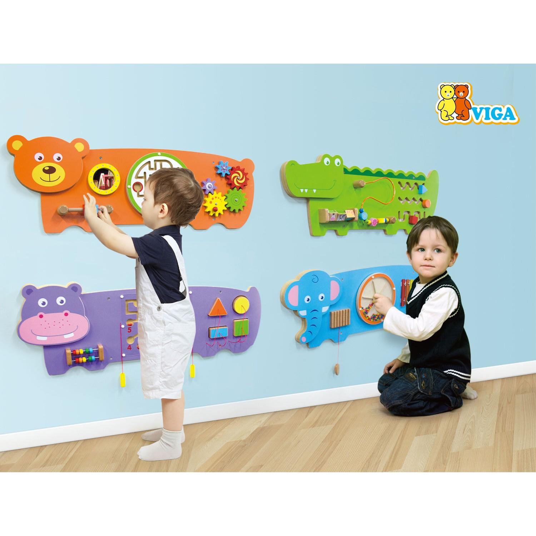 Дървена образователна играчка за стена - Крокодил- подходяща за детски градини и ясли от Viga toys(1)-bellamiestore