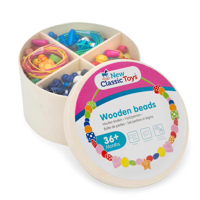 Цветни дървени мъниста за нанизване - 260 грама - дървена играчка за момичета от New classic toys(4)-bellamiestore