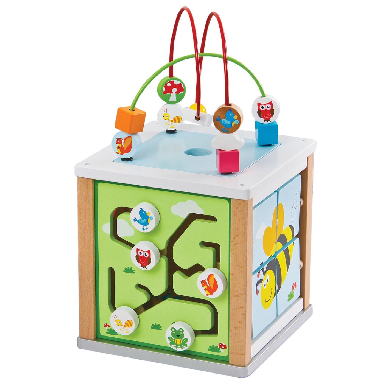 Детски дървен куб с образователни игри- дървена играчка от Lelin toys-bellamie