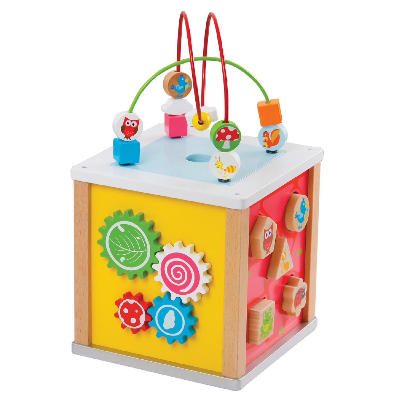 Детски дървен куб с образователни игри- дървена играчка от Lelin toys(1)-bellamie