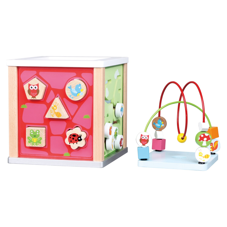 Детски дървен куб с образователни игри- дървена играчка от Lelin toys(2)-bellamie