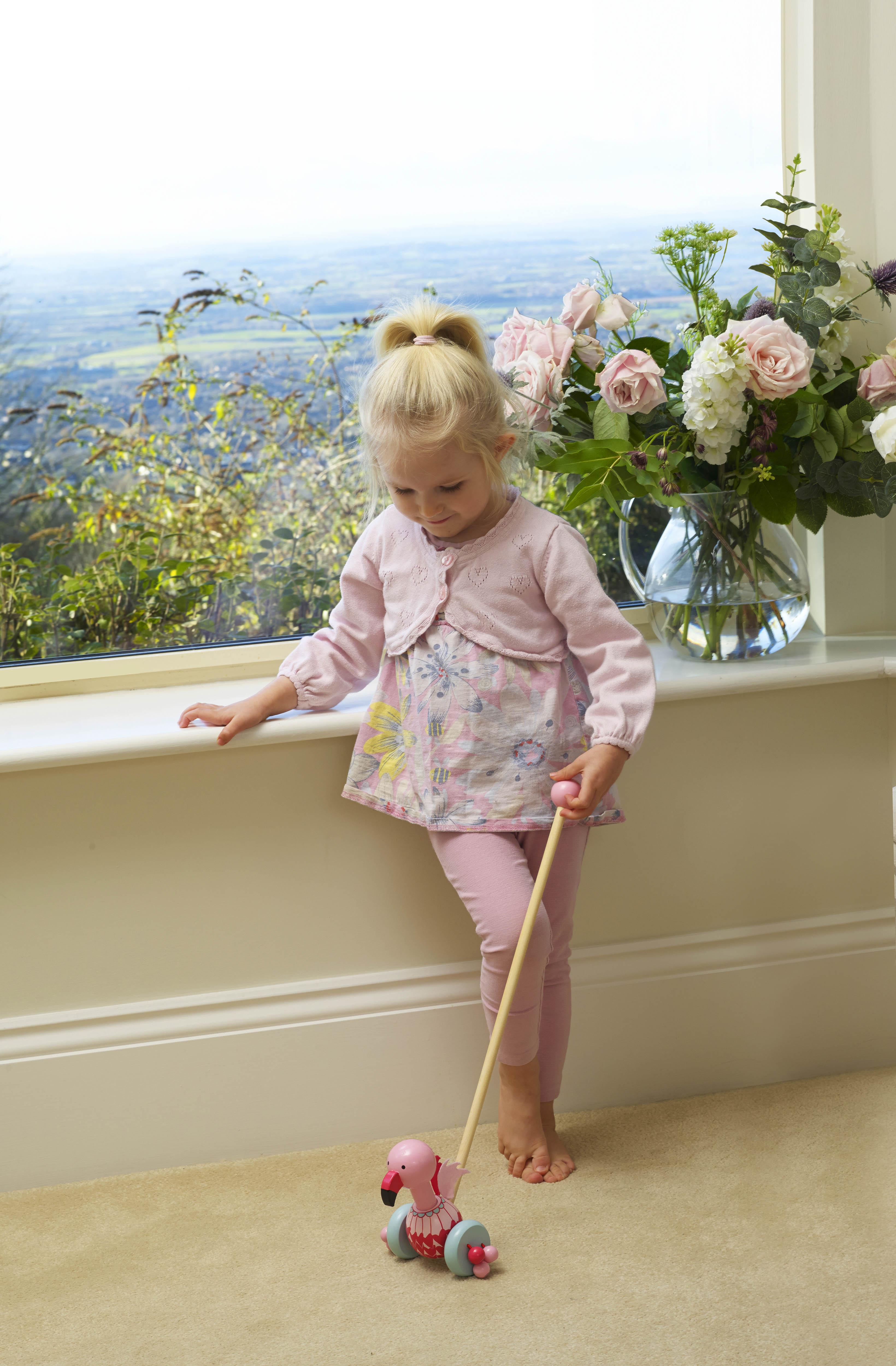 Играчка за бутане - Фламинго от Orange Tree Toys - дървена играчка - Bellamie