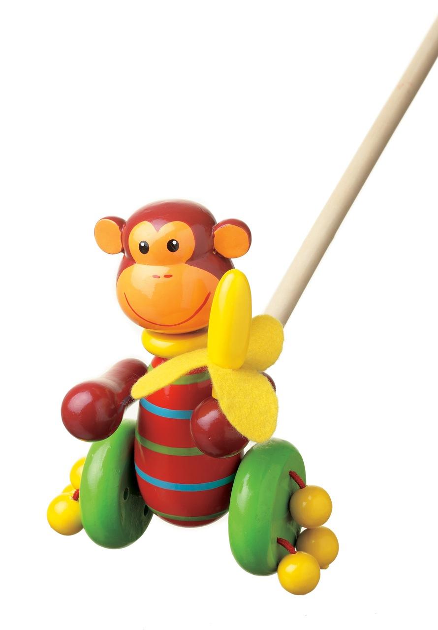 Дървена играчка за бутане - маймунка от Orange Tree Toys- бебешка играчка - Bellamie