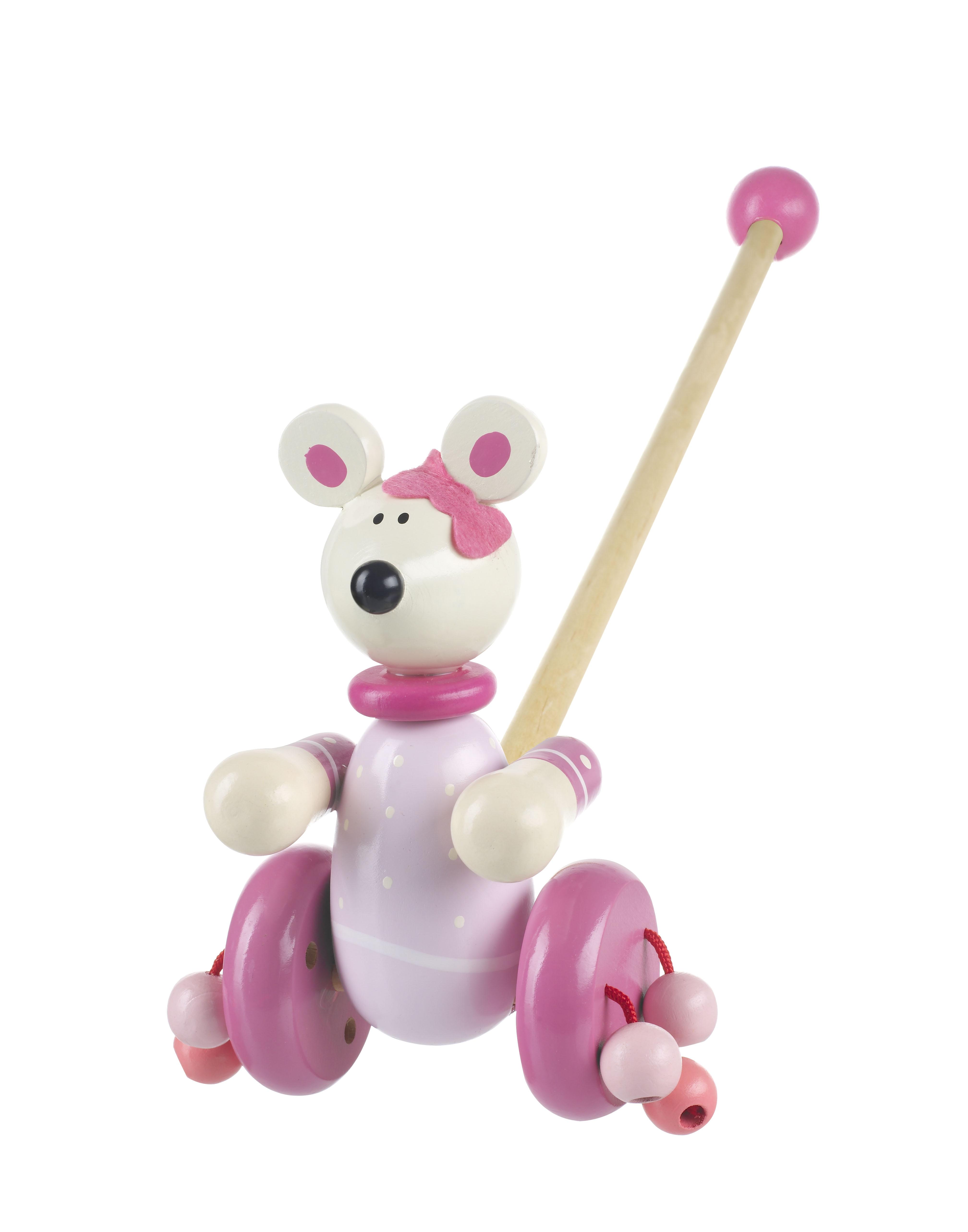 Дървена играчка за бутане - Розово мишле от Orange Tree Toys - дървена играчка - Bellamie