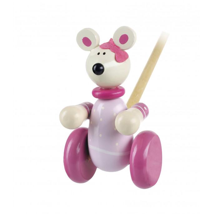 Дървена играчка за бутане - Розово мишле от Orange Tree Toys - дървена играчка-bellamiestore