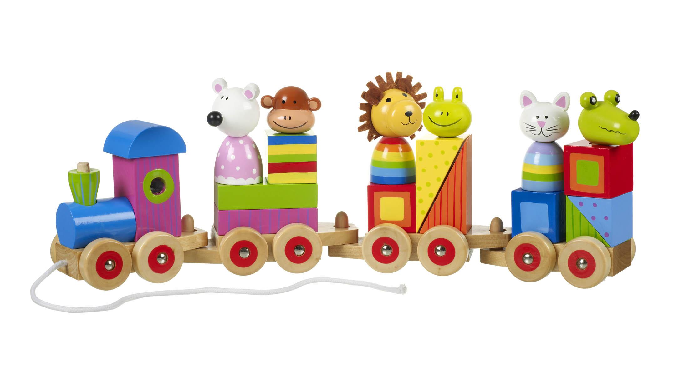 Дървено влакче с животни за дърпане от Orange Tree Toys - Bellamie