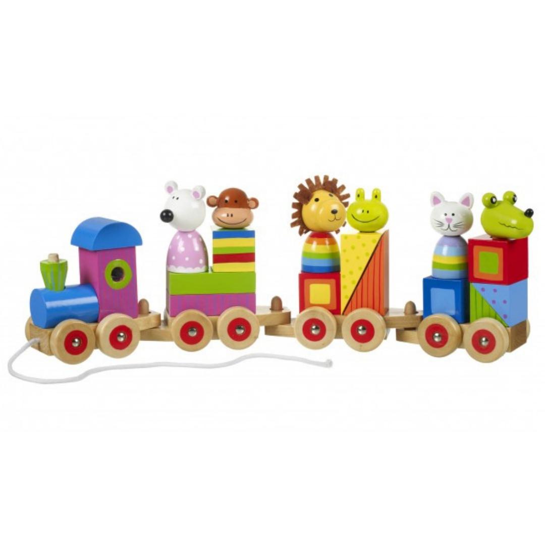 Дървено влакче с животни за дърпане от Orange Tree Toys(5)-bellamiestore