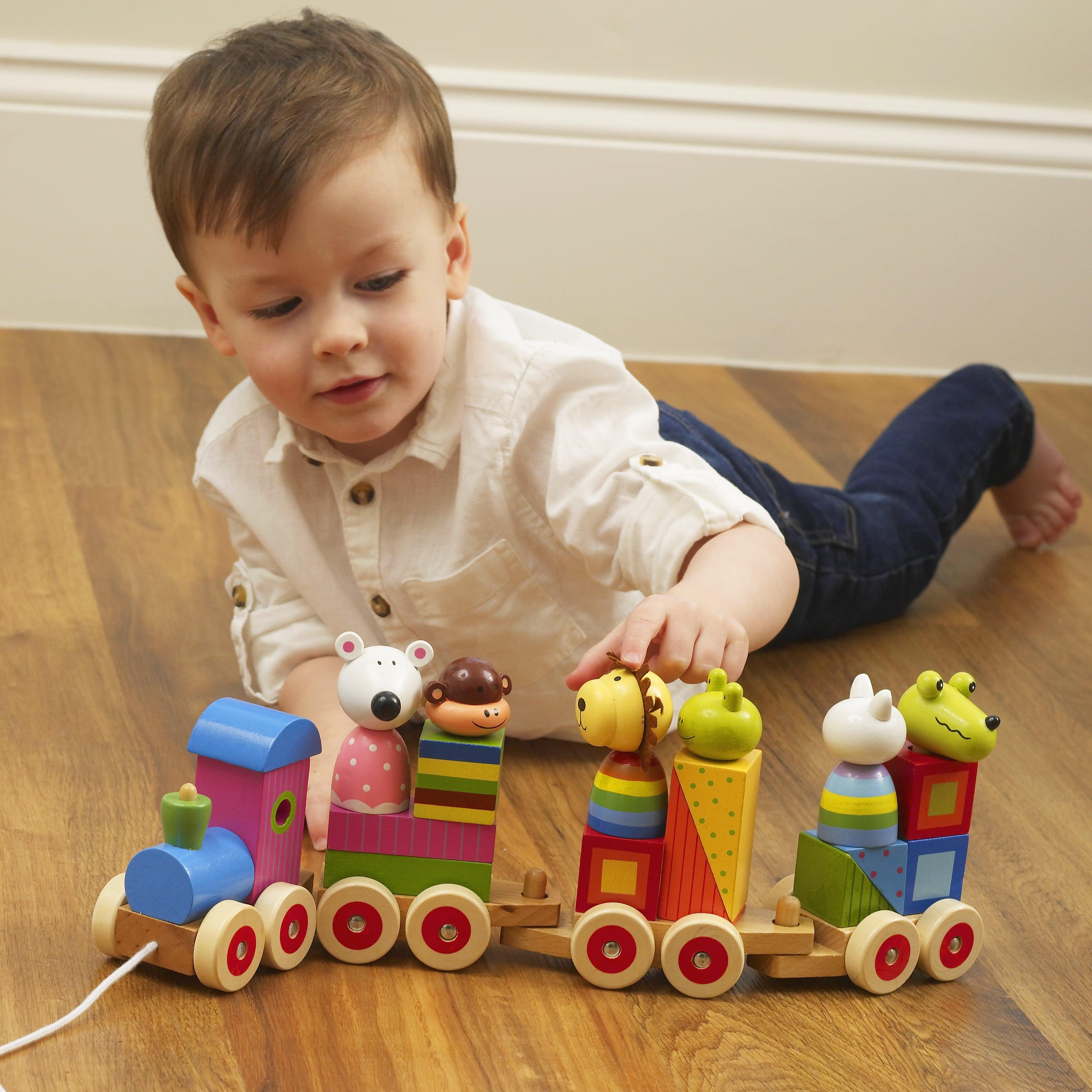 Дървено влакче с животни за дърпане от Orange Tree Toys , дървени играчки - Bellamie store